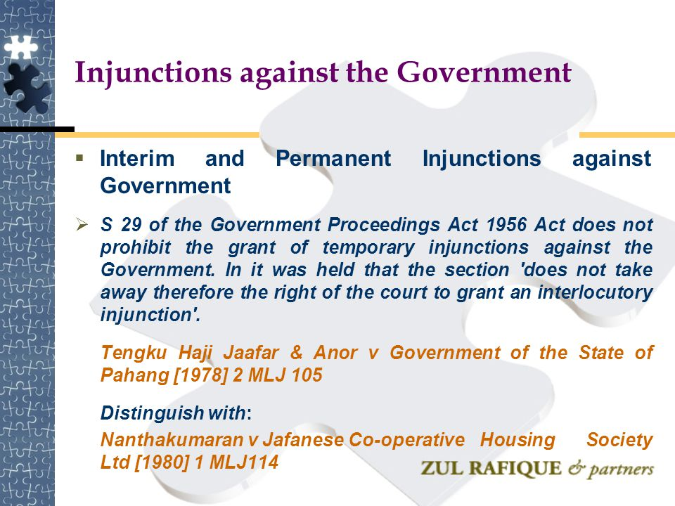 Injunctions against the Government