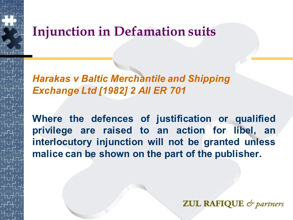 Injunction in Defamation suits