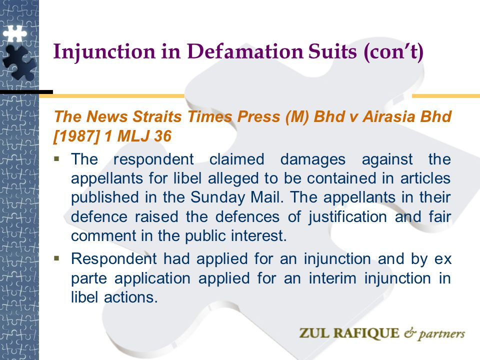 Injunction in Defamation Suits (con't)