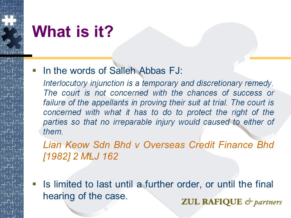 What is it In the words of Salleh Abbas FJ: