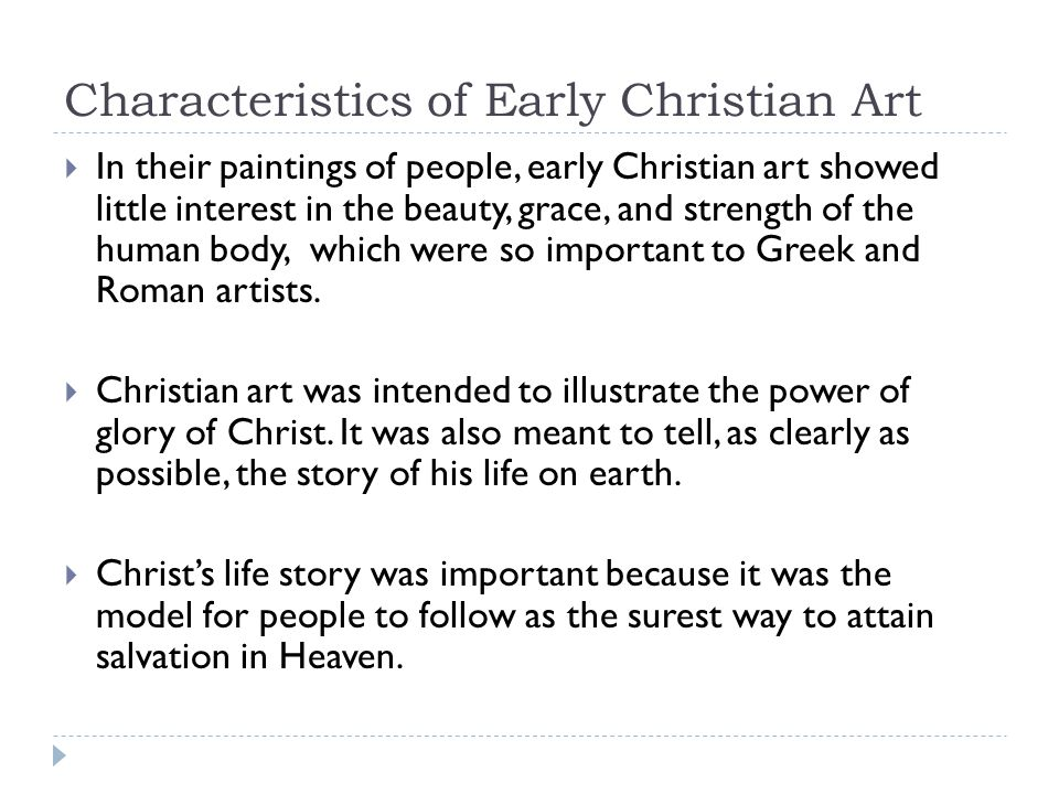 Characteristics of Early Christian Art