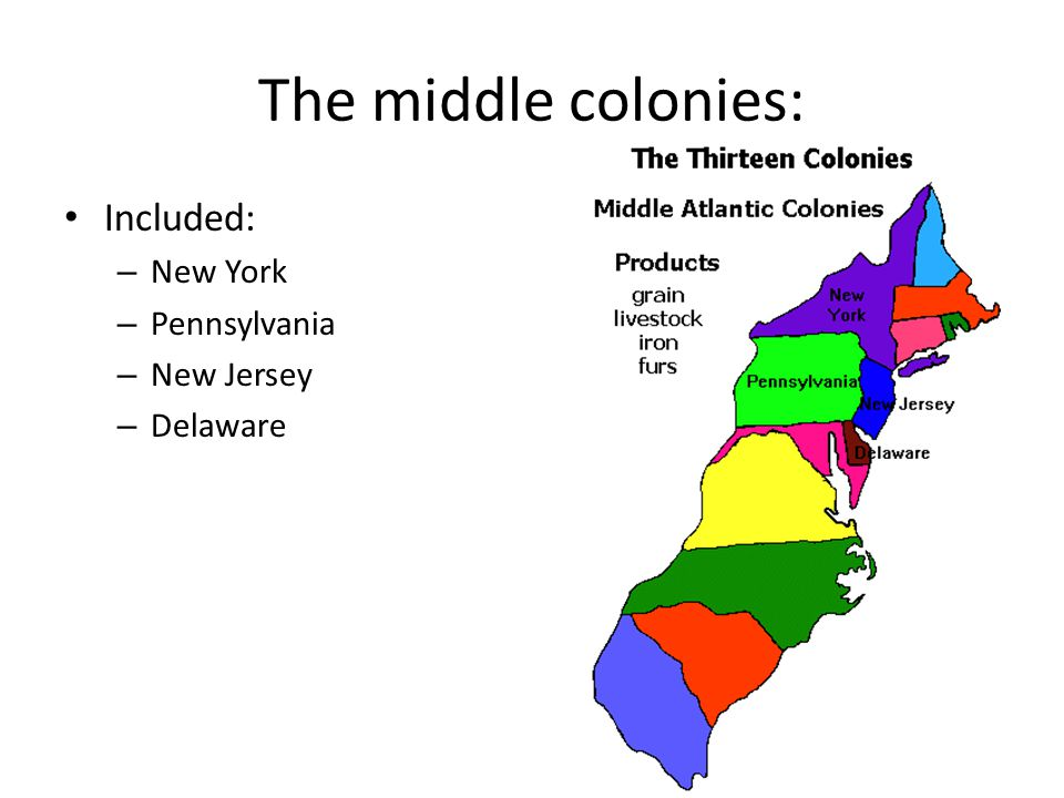 The middle colonies: Included: New York Pennsylvania New Jersey