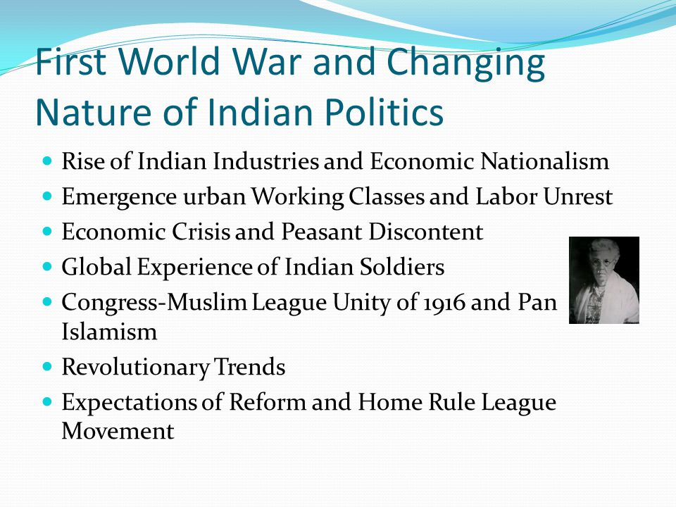First World War and Changing Nature of Indian Politics