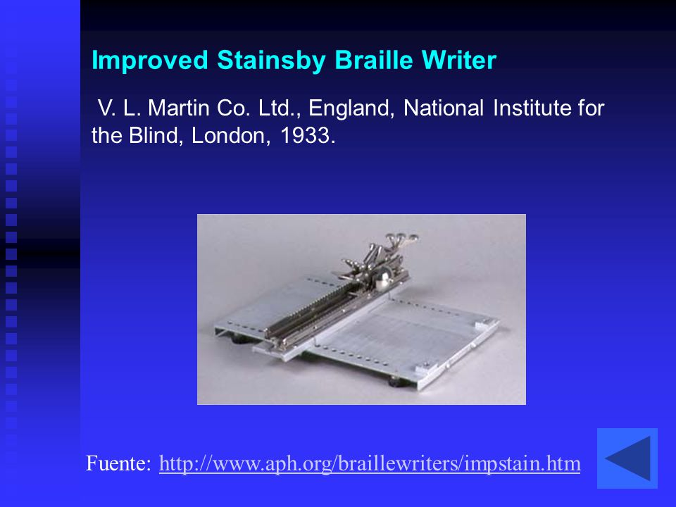 Improved Stainsby Braille Writer