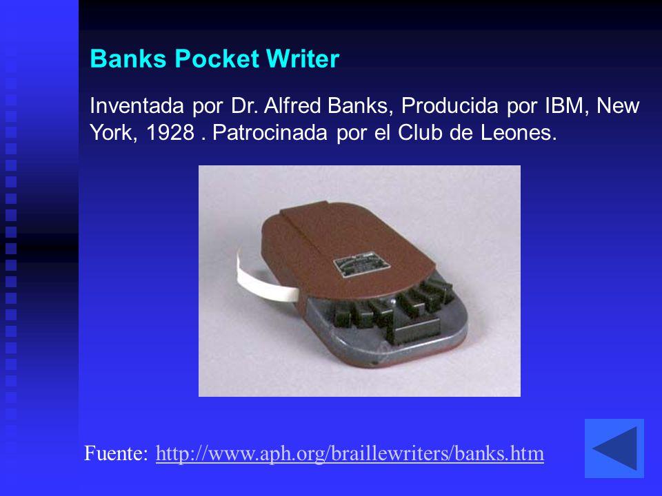 Banks Pocket Writer Inventada por Dr. Alfred Banks, Producida por IBM, New York, 1928 . Patrocinada por el Club de Leones.
