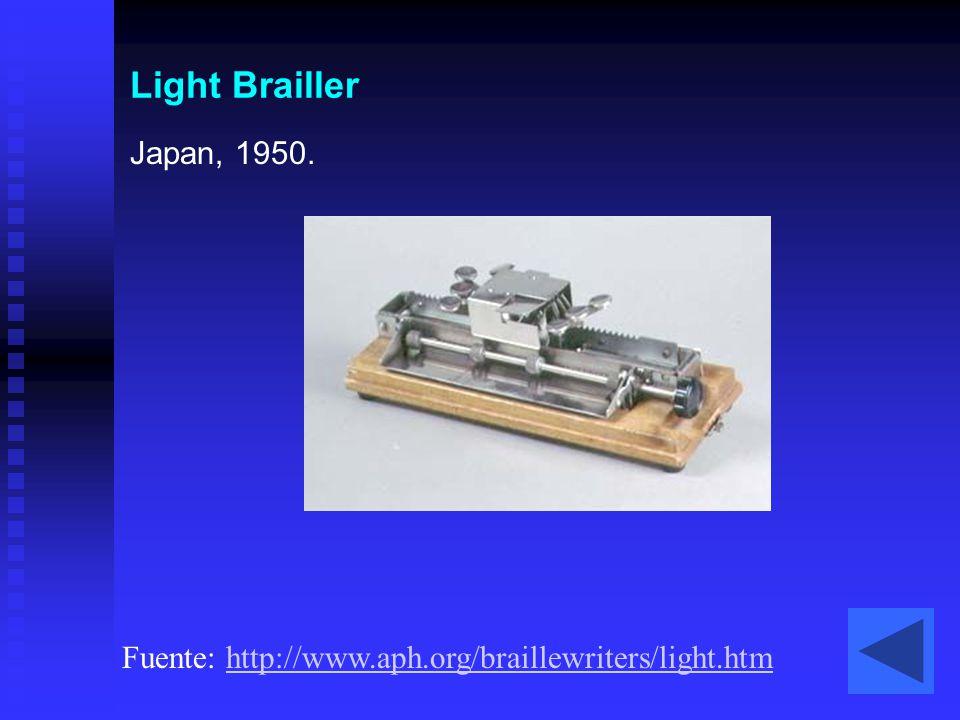 Light Brailler Japan, 1950. Fuente: http://www.aph.org/braillewriters/light.htm