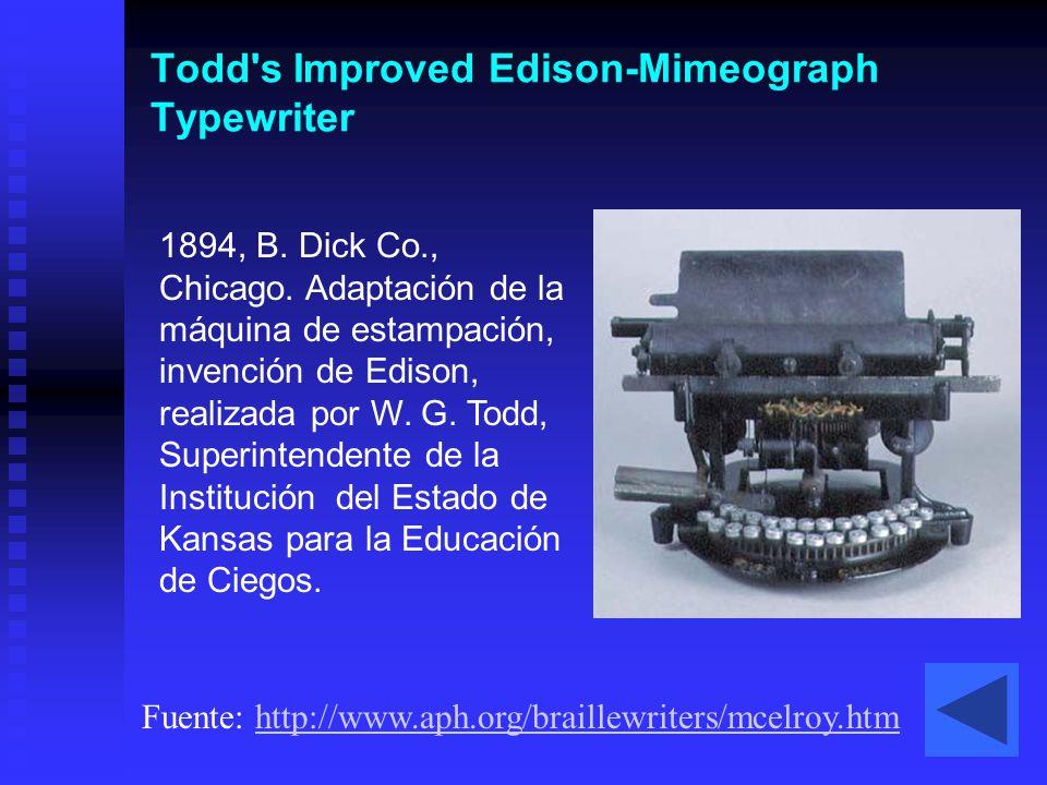 Todd s Improved Edison-Mimeograph Typewriter