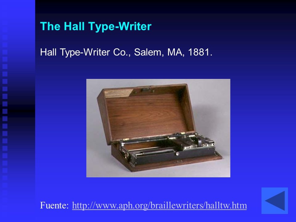 The Hall Type-Writer Hall Type-Writer Co., Salem, MA, 1881.