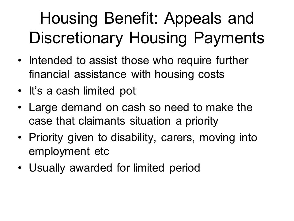 Housing Benefit: Appeals and Discretionary Housing Payments