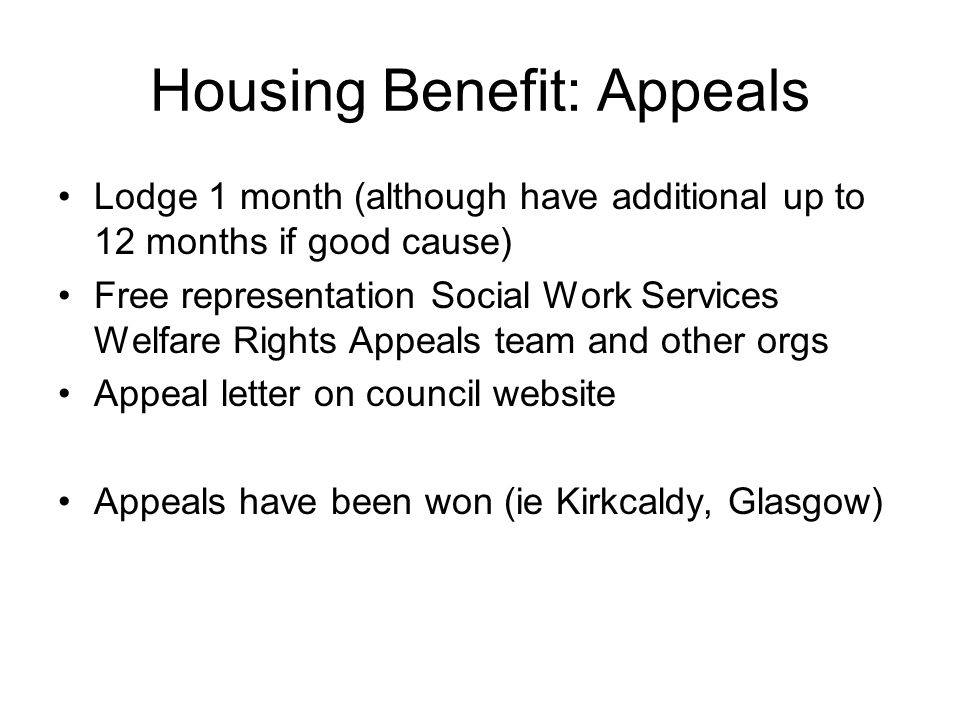 Housing Benefit: Appeals