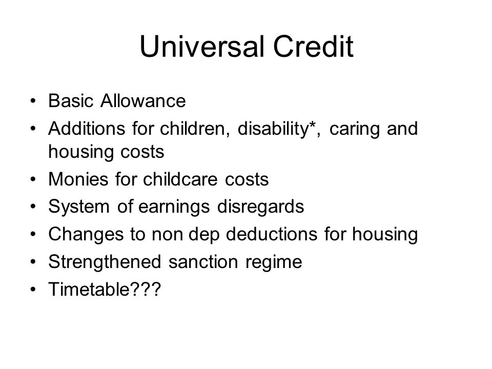 Universal Credit Basic Allowance
