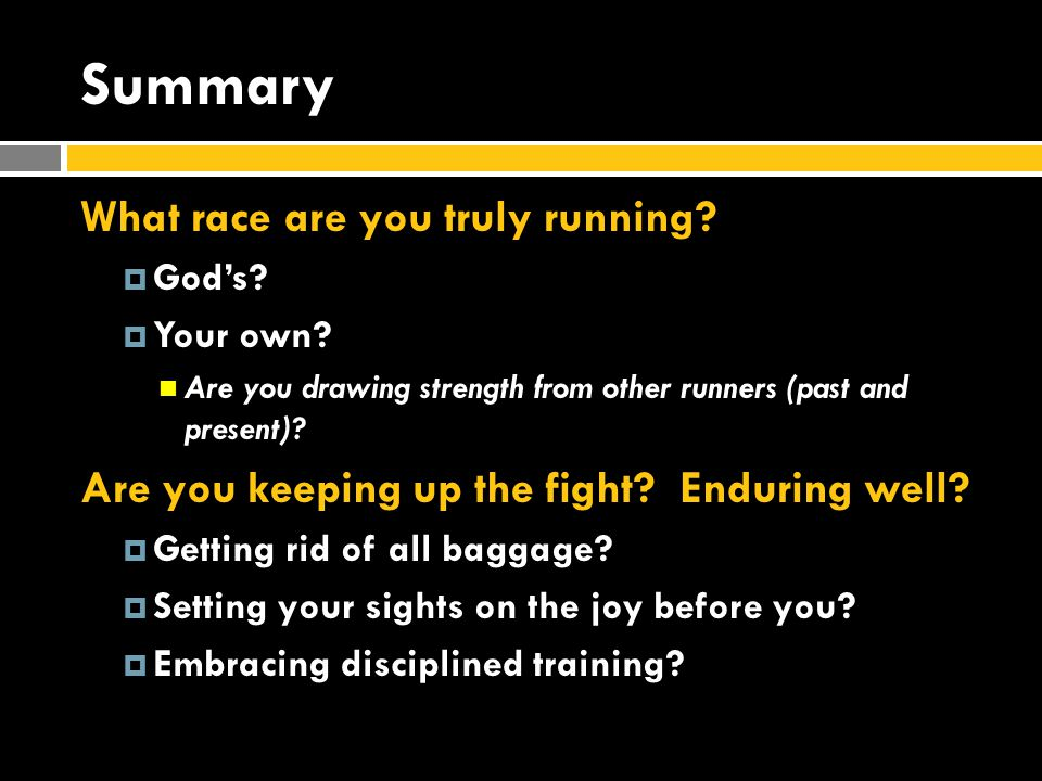Summary What race are you truly running