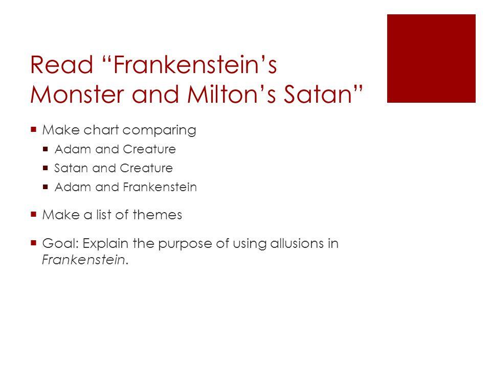 Read Frankenstein's Monster and Milton's Satan