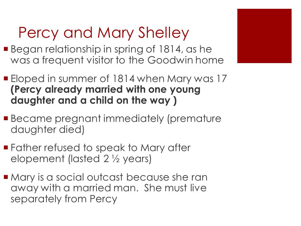 Percy and Mary Shelley Began relationship in spring of 1814, as he was a frequent visitor to the Goodwin home.
