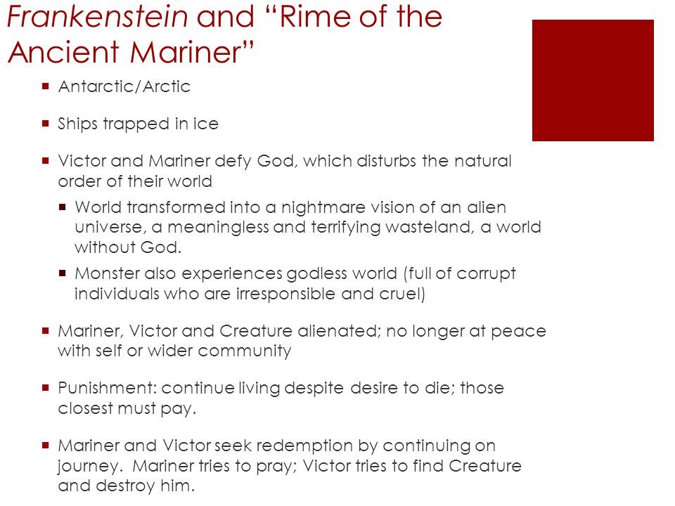 Frankenstein and Rime of the Ancient Mariner
