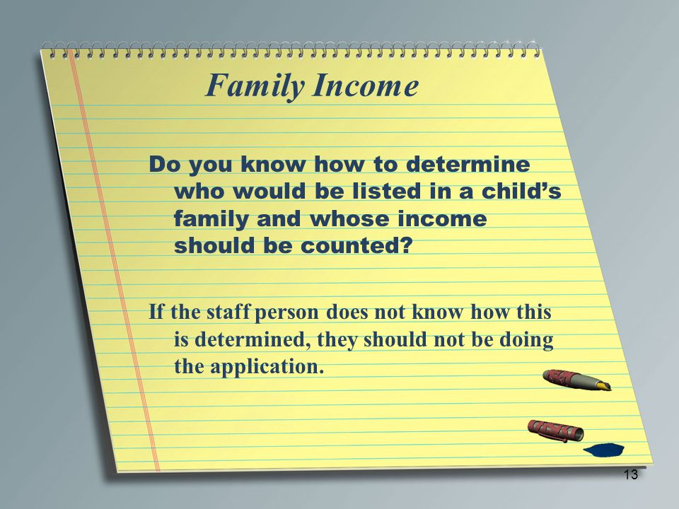 Family Income Do you know how to determine who would be listed in a child's family and whose income should be counted