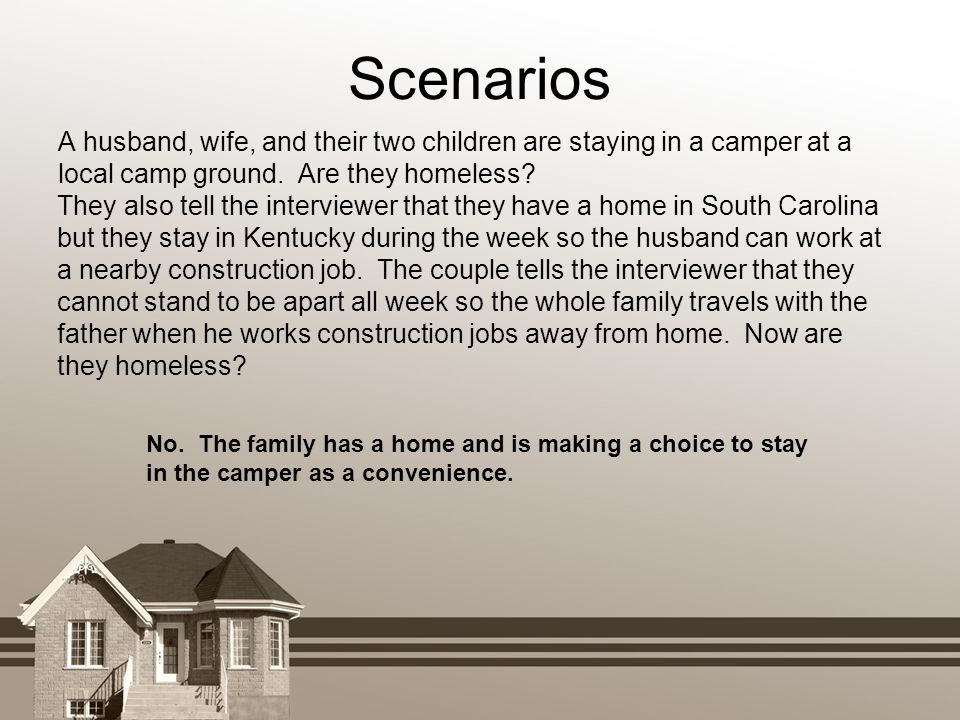 Scenarios A husband, wife, and their two children are staying in a camper at a local camp ground. Are they homeless