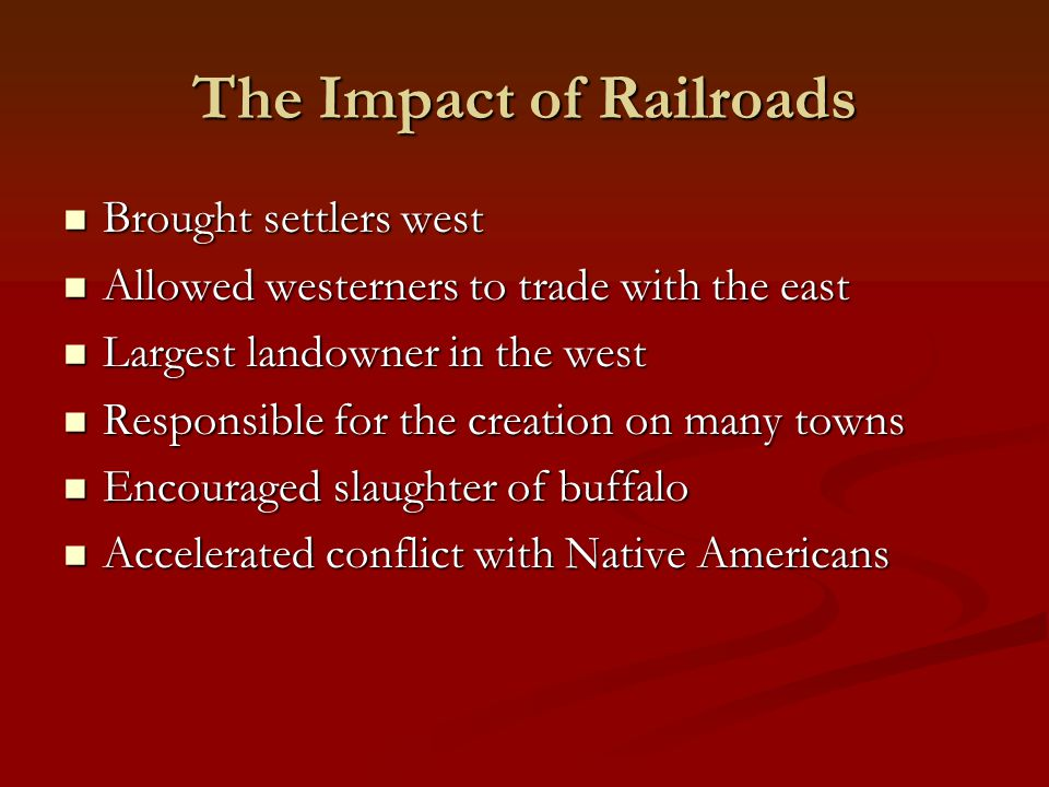 The Impact of Railroads
