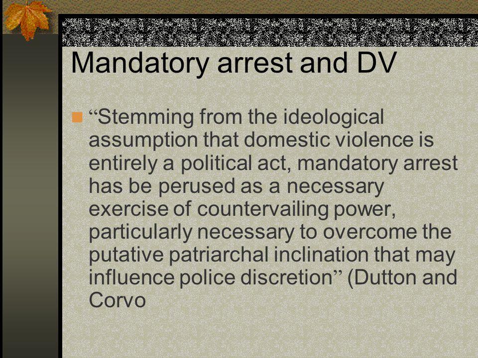 Mandatory arrest and DV