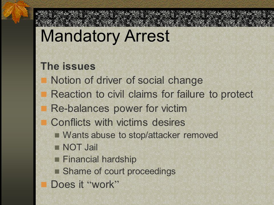 Mandatory Arrest The issues Notion of driver of social change