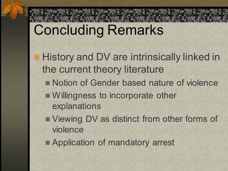 Concluding Remarks History and DV are intrinsically linked in the current theory literature. Notion of Gender based nature of violence.