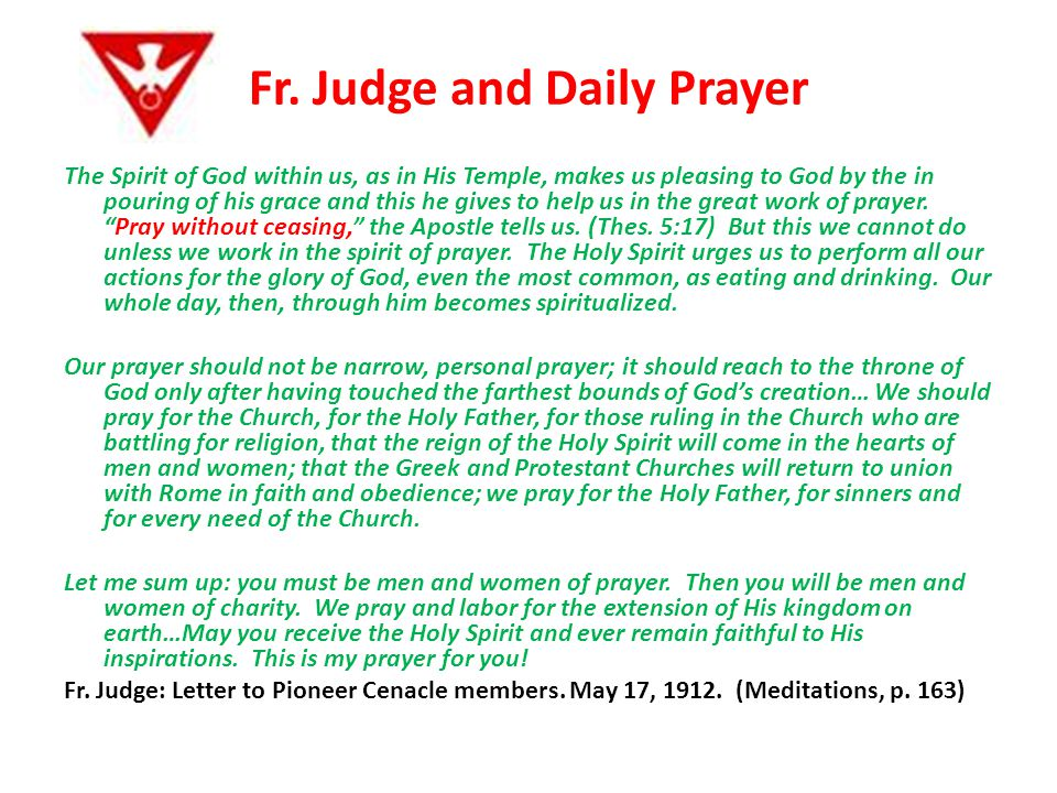 Fr. Judge and Daily Prayer