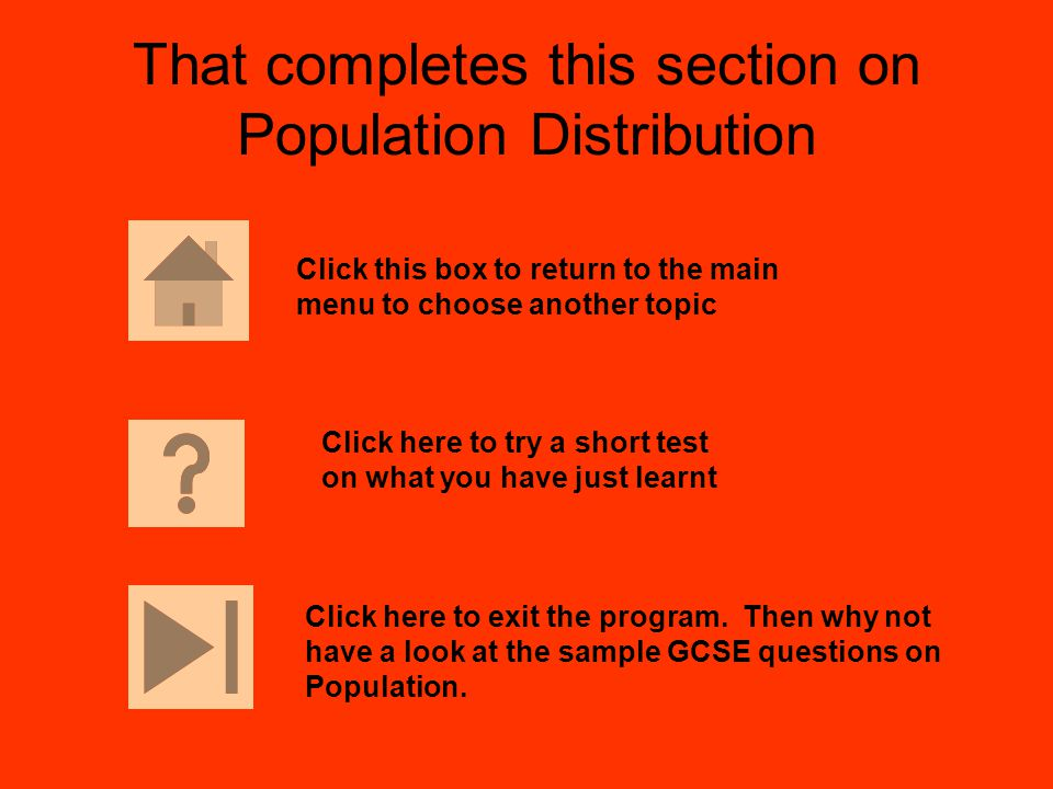 That completes this section on Population Distribution