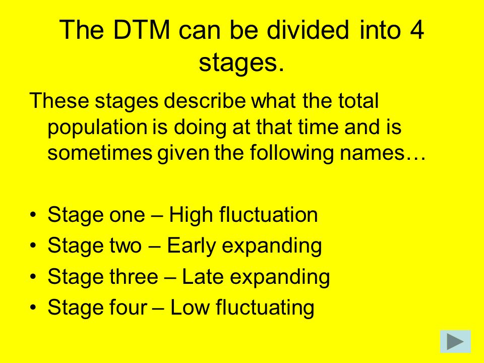 The DTM can be divided into 4 stages.
