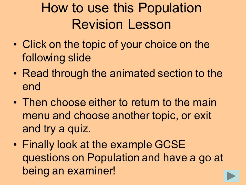 How to use this Population Revision Lesson