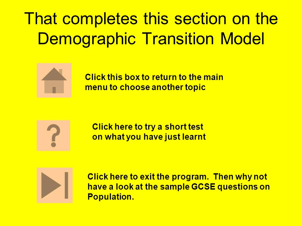 That completes this section on the Demographic Transition Model