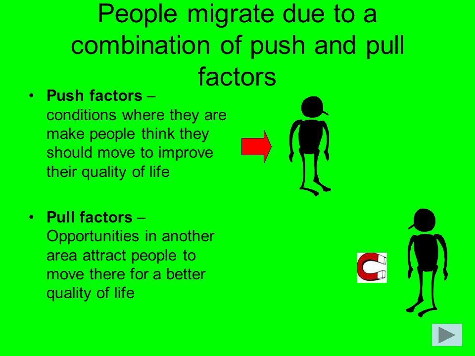 People migrate due to a combination of push and pull factors