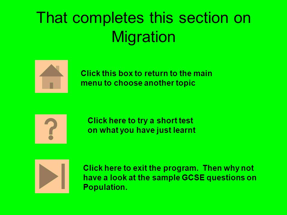 That completes this section on Migration