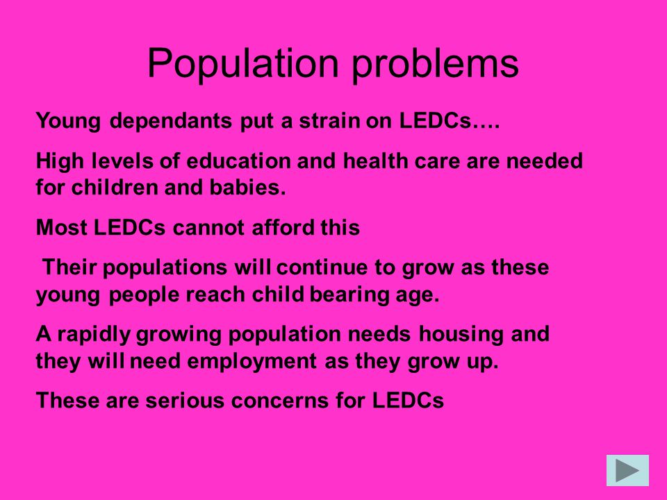 Population problems Young dependants put a strain on LEDCs….