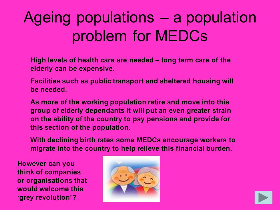 Ageing populations – a population problem for MEDCs
