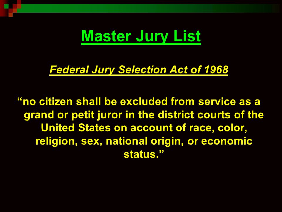 Federal Jury Selection Act of 1968
