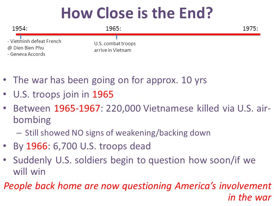 How Close is the End The war has been going on for approx. 10 yrs