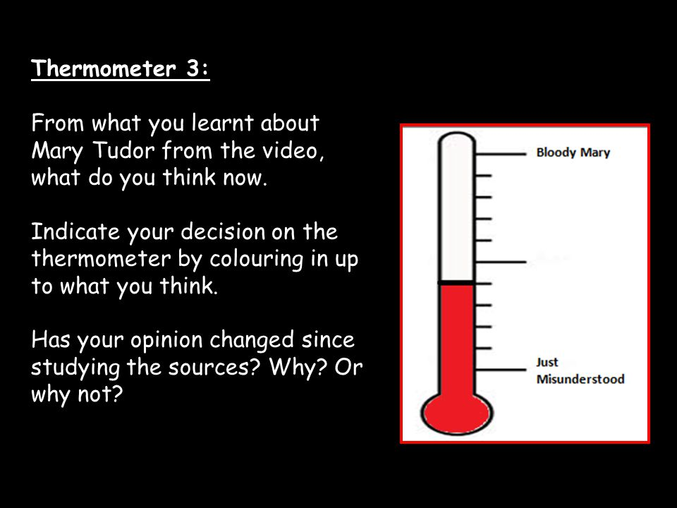 Thermometer 3: From what you learnt about Mary Tudor from the video, what do you think now.