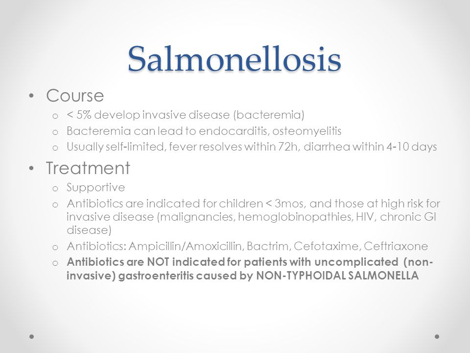 Salmonellosis Course Treatment