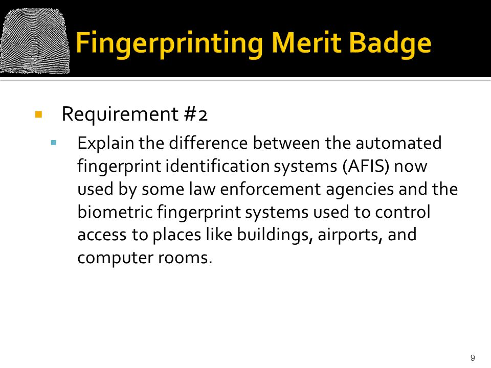 Fingerprinting Merit Badge