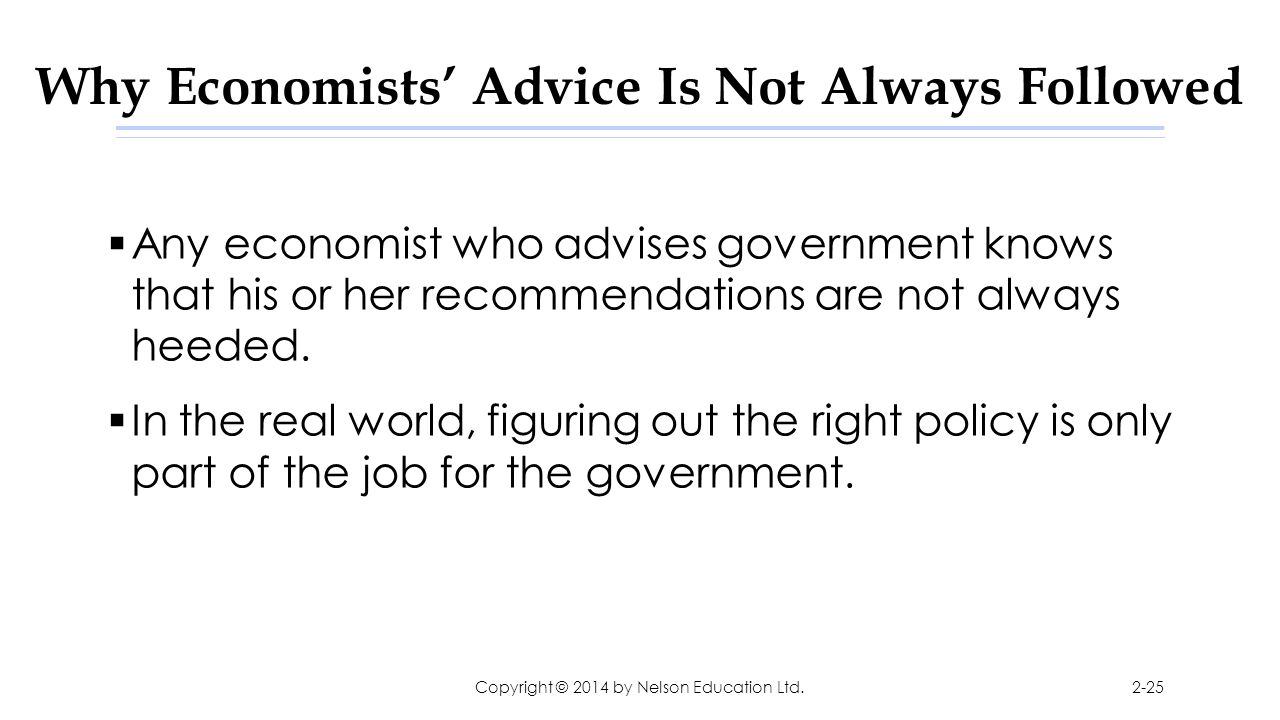 Why Economists' Advice Is Not Always Followed