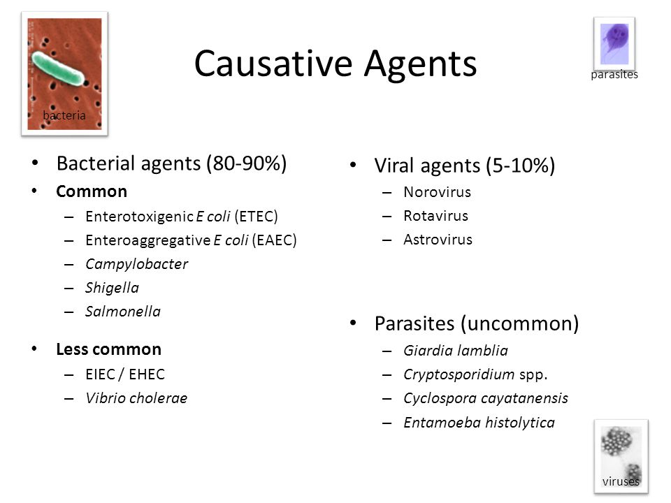Causative Agents Bacterial agents (80-90%) Viral agents (5-10%)