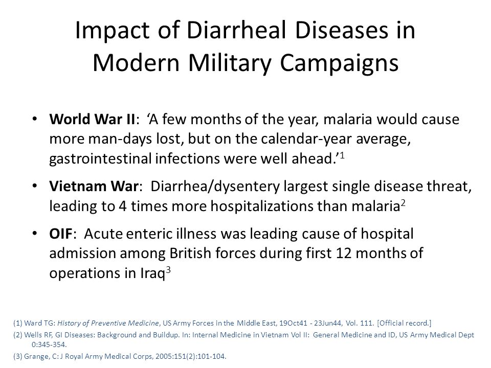 Impact of Diarrheal Diseases in Modern Military Campaigns