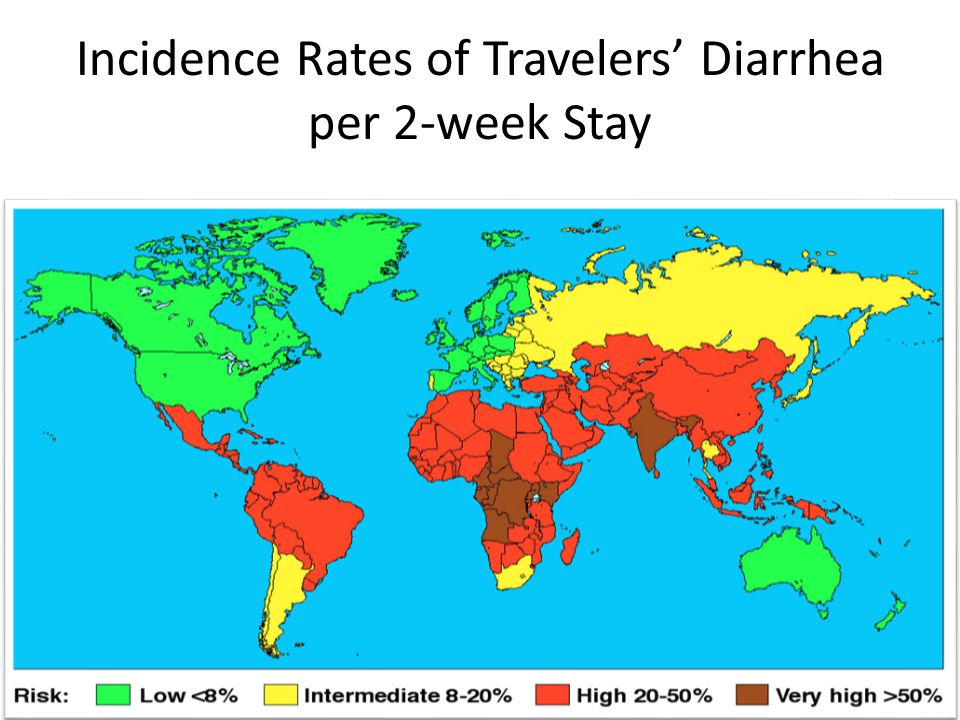 Incidence Rates of Travelers' Diarrhea per 2-week Stay