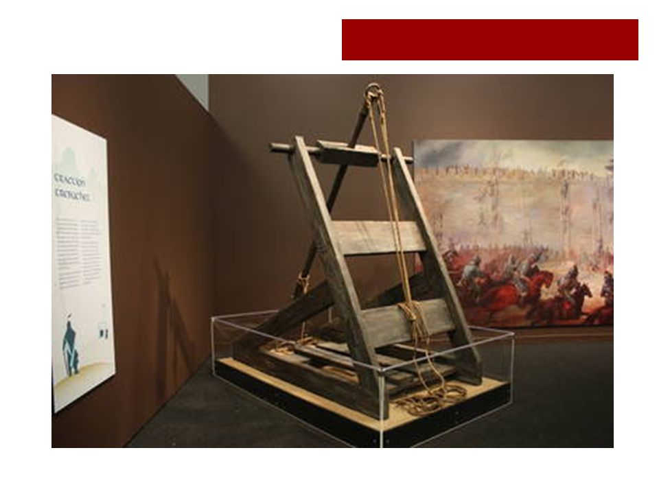 A trebuchet, a type of siege machine, used to hurl missiles over the walls of besieged cities. The Mongolian army under Genghis Khan and his descendants used these relatively light siege machines for easy mobility.