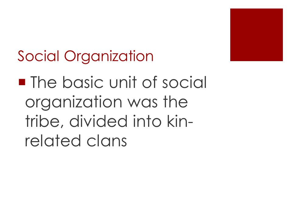 Social Organization The basic unit of social organization was the tribe, divided into kin- related clans.