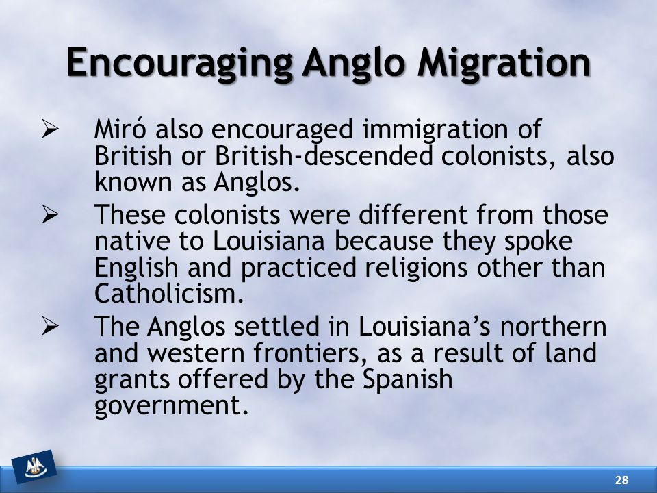 Encouraging Anglo Migration