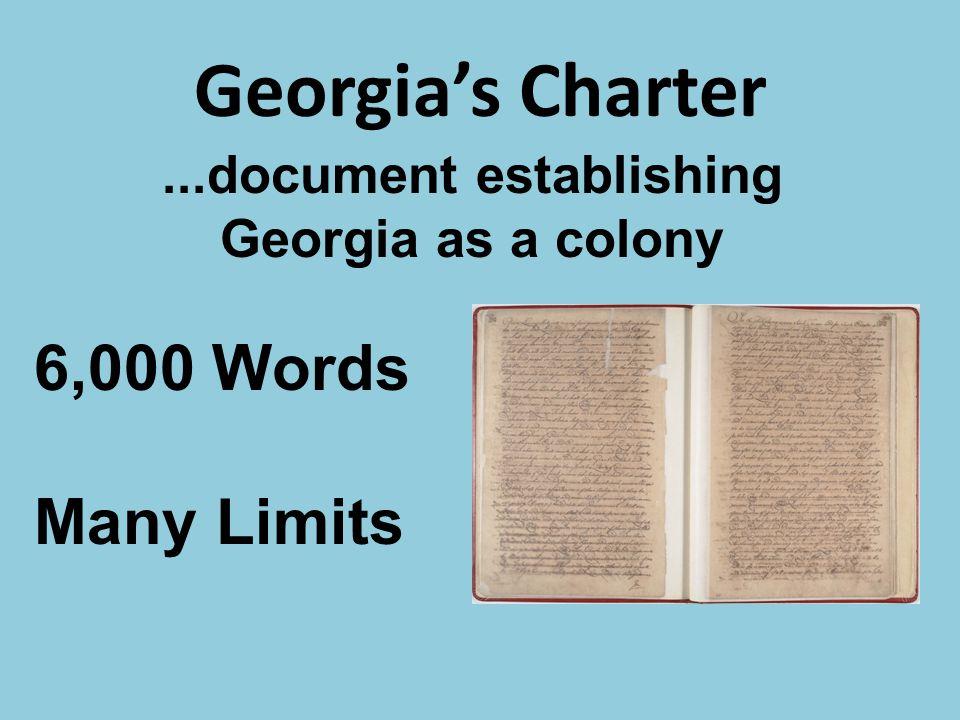 ...document establishing Georgia as a colony