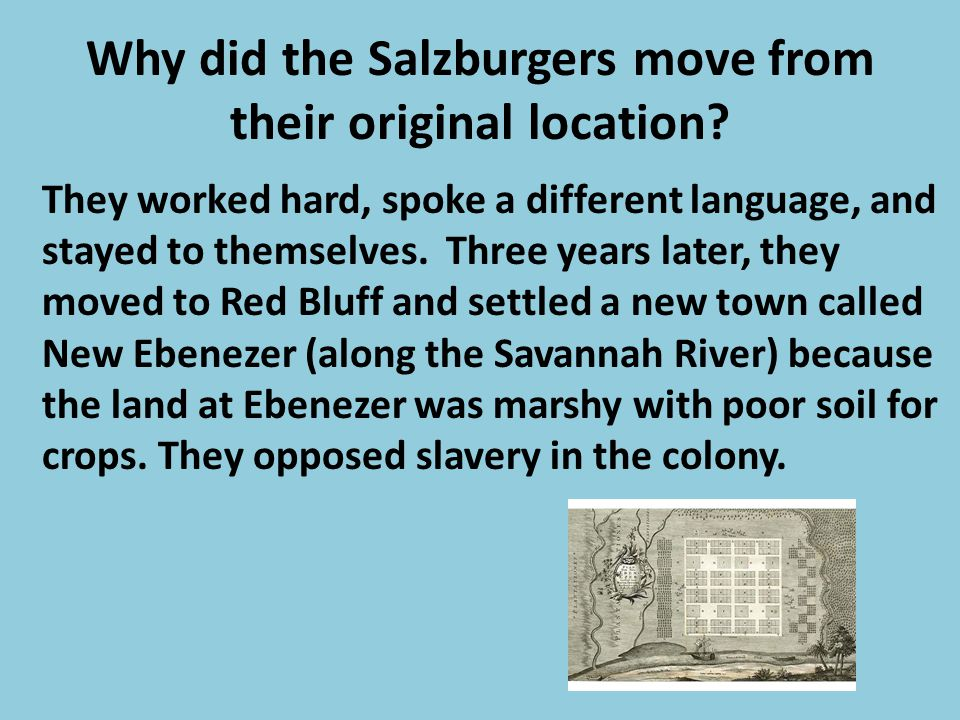 Why did the Salzburgers move from their original location