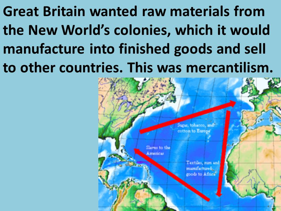 Great Britain wanted raw materials from the New World's colonies, which it would manufacture into finished goods and sell to other countries.