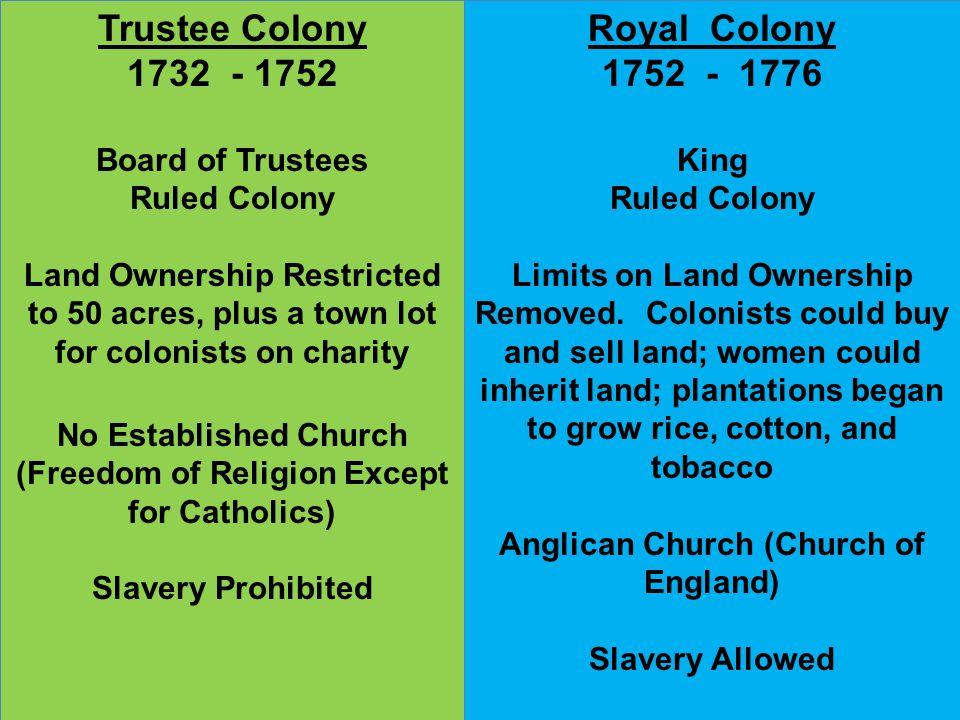 Trustee Colony 1732 - 1752 Royal Colony 1752 - 1776